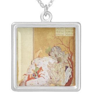 Majnun in the Desert Square Pendant Necklace