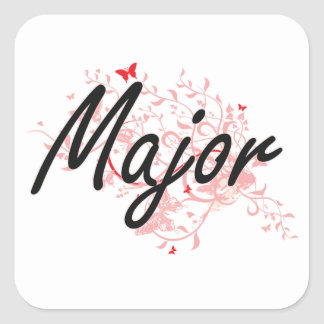Major Artistic Job Design with Butterflies Square Sticker