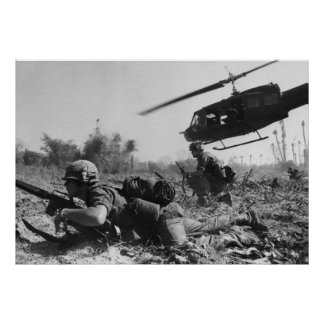 Major Crandall's UH-1D Helicopter in Vietnam War Poster