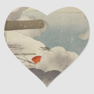 Major General ÅŒdera at the cliff by Ogata Gekko Heart Sticker