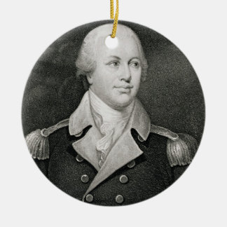 Major General Nathaniel Greene (1742-86), engraved Double-Sided Ceramic Round Christmas Ornament