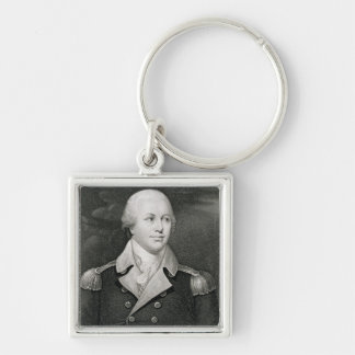 Major General Nathaniel Greene (1742-86), engraved Silver-Colored Square Keychain
