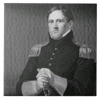 Major General Winfield Scott (1786-1866) engraved Large Square Tile