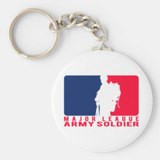 Major League Army Soldier Basic Round Button Keychain