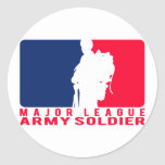 Major League Army Soldier Round Stickers