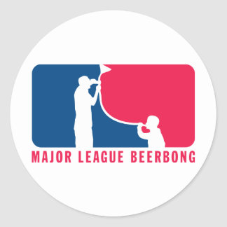 Major League Beer Bong Round Stickers