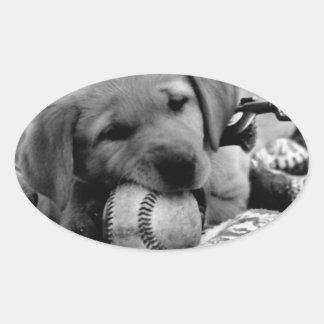 Major League Puppy Oval Sticker