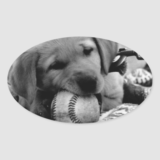 Major League Puppy Oval Sticker