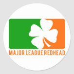 Major League Redhead Round Stickers