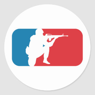 Major League Soldier Round Stickers