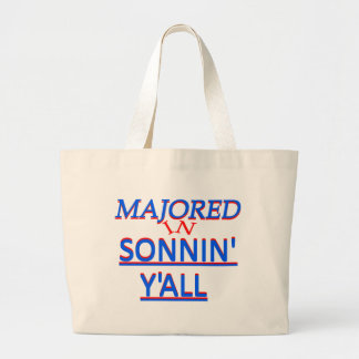 Majored in Sonnin Y all Blue on Red Canvas Bags