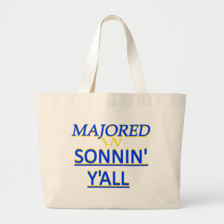 Majored in Sonnin Y all Blue on Yellow Bag
