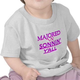 Majored in Sonnin Y all Purple on Fuschia T-shirts