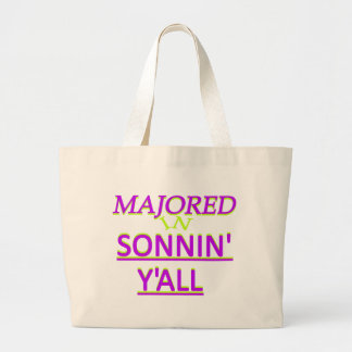 Majored in Sonnin Y all Purple on Lime Tote Bags