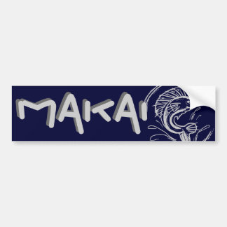 Makai toward the ocean hawaii bumpersticker bumper sticker