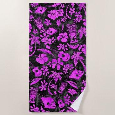 Beach Themed Makapuu Beach Hawaiian Batik Black and Pink Beach Towel