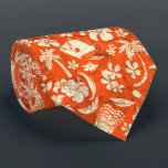 """Makapuu Beach Hawaiian Tropical Tiki Batik Neck Tie<br><div class=""""desc"""">Orange,  tan and khaki colorway. A conversation print of tikis,  palm trees,  tropical fish,  ukeleles,  hibiscus and plumeria flowers are reminiscent of the designs used in vintage aloha shirts in the forties &amp; fifties. The batik texture adds a unique texture throughout the design. This design comes in several colorways.</div>"""