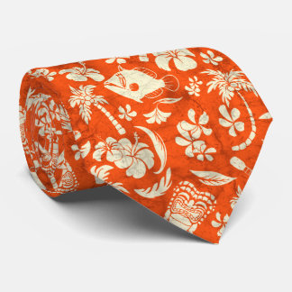 Makapuu Beach Hawaiian Tropical Tiki Batik Neck Tie