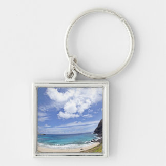 Makapuu Beach in Oahu, Hawaii. Silver-Colored Square Keychain