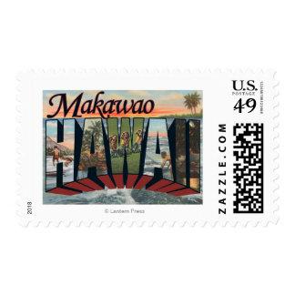 Makawao, Hawaii - Large Letter Scenes Postage Stamp