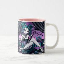 gothic, fairy, faerie, fae, fairies, faery, pixie, rag, doll, fantasy, art, myka, jelina, mika, couture, sunset, cup, cake, tea, party, coffee, mug, set, acrylic, Mug with custom graphic design