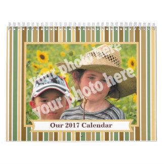 Make 2017 Custom Photo Calendar Striped Pic Frame
