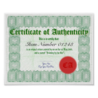Make a Certificate of Authenticity Print