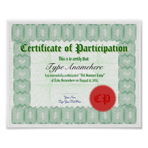Make a Certificate of Participation Poster