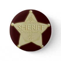 Make a Deputy Sheriff Badge Golden Pinback Button