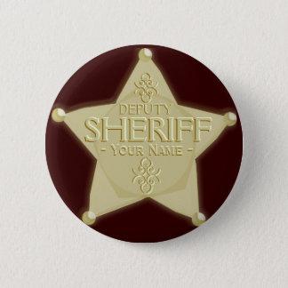 Make a Deputy Sheriff Badge Golden Pinback Button