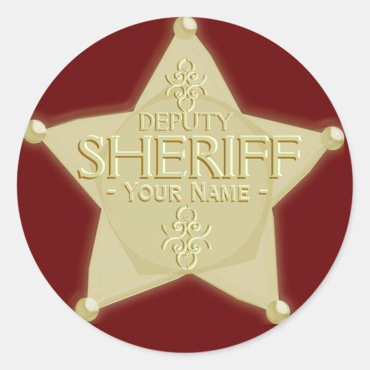 make a deputy sheriff with name badge sticker zazzle com