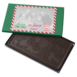 Make a Family Photo Merry Christmas Greetings 2 Pound Dark Chocolate Bar Box