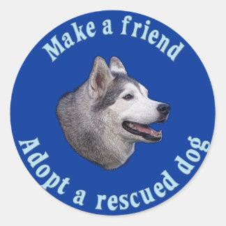 Make A Friend - Siberian Husky Classic Round Sticker