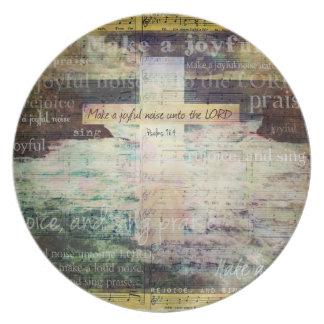 Make a joyful noise unto the LORD - Bible Verse Dinner Plates