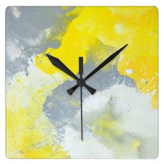 'Make A Mess' Grey and Yellow Abstract Art Clock