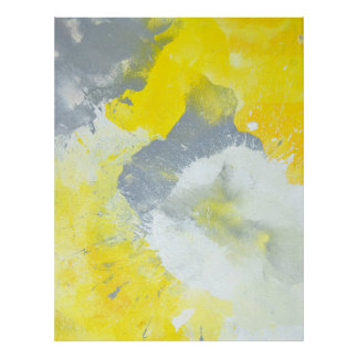 'Make A Mess' Grey and Yellow Abstract Art Poster