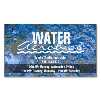 Make a Splash Sparkling Blue Water Aerobics Business Card Magnet