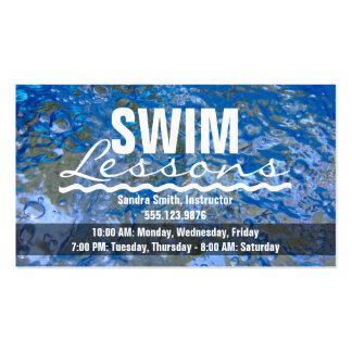 Make a Splash Sparkling Blue Water Swim Lessons Business Card