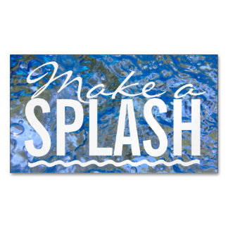Make a Splash Typography Sparkling Blue Water Business Card Magnet
