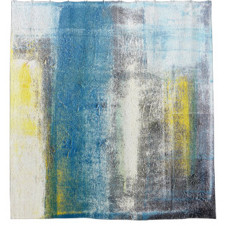 'Make A Statement' Teal and Yellow Abstract Art Shower Curtain