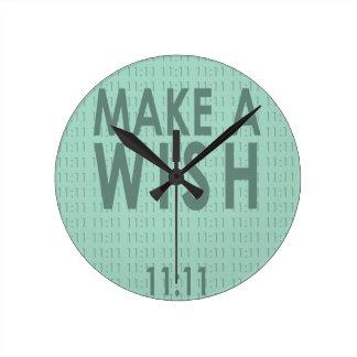 Make A Wish 11:11 Round Clock