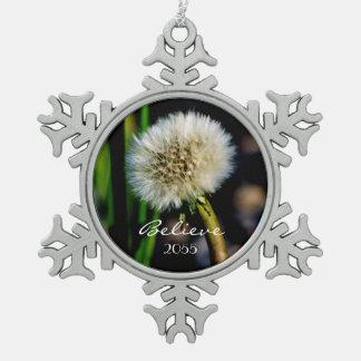 Make a Wish, Believe, Dandelion Christmas Snowflake Pewter Christmas Ornament