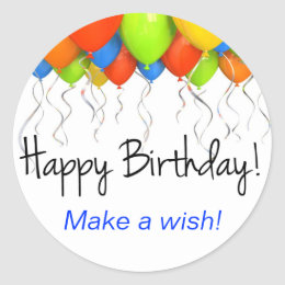 Make a Wish Birthday Stickers