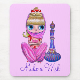 Make a Wish Cute Little Pink Genie Girl Big Eyes Mouse Pad