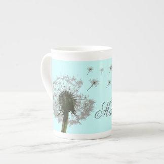 Make a wish dandelion floral bone china mugs