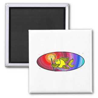 Make a wish Fish Oval 2 Inch Square Magnet