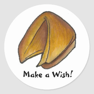 Make a Wish Fortune Cookie Chinese Food Foodie Classic Round Sticker