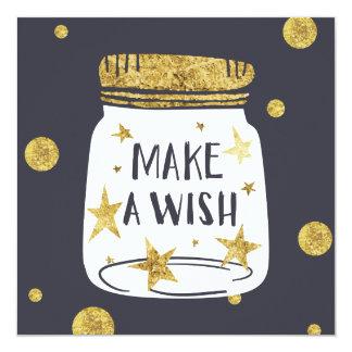 Make a wish jar gold glittery illustration card