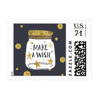 Make a wish jar gold glittery illustration postage