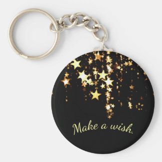 Make a Wish on Falling Gold Stars on Black Keychain